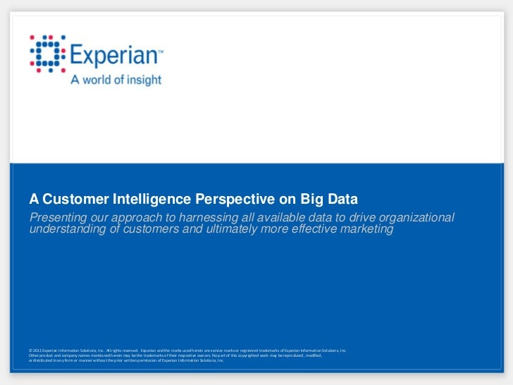 A Customer Intelligence Perspective on Big DataPresenting our approach to harnessing all available data to drive organizat...