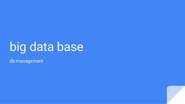 big data base db management