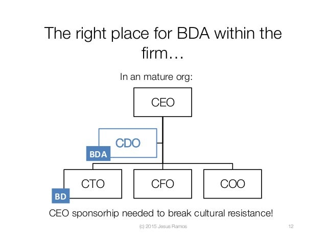 The right place for BDA within the firm… (c) 2015 Jesus Ramos  12 In an mature org: CEO CTO  CFO  COO CDO BDA CEO sponsorh...
