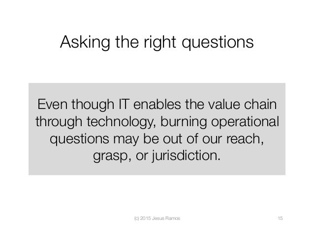 Asking the right questions Even though IT enables the value chain through technology, burning operational questions may be...