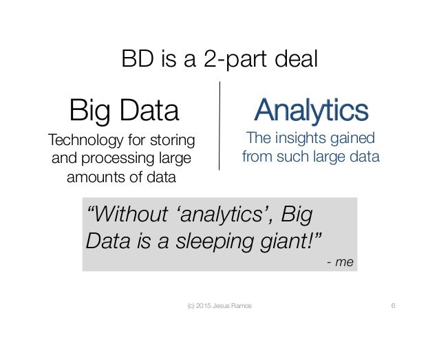 BD is a 2-part deal (c) 2015 Jesus Ramos  6 Big Data Technology for storing and processing large amounts of data Analytics...