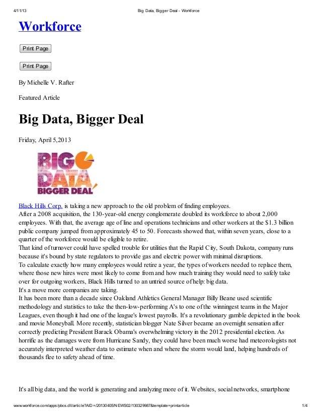 4/11/13                                                         Big Data, Bigger Deal - Workforce  Workforce    Print Page...