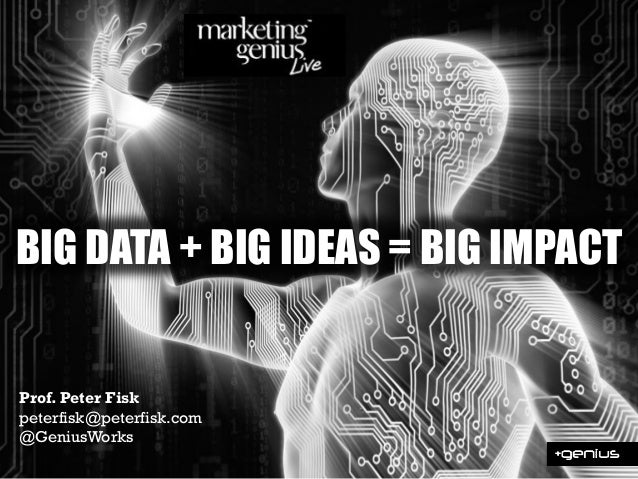BIG DATA + BIG IDEAS = BIG IMPACT Prof. Peter Fisk peterfisk@peterfisk.com @GeniusWorks