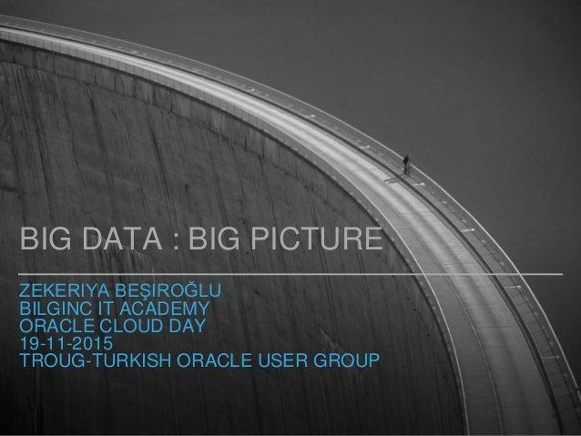 ZEKERIYA BEŞIROĞLU BILGINC IT ACADEMY ORACLE CLOUD DAY 19-11-2015 TROUG-TURKISH ORACLE USER GROUP BIG DATA : BIG PICTURE