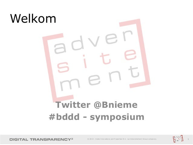 Twitter @Bnieme#bddd - symposiumWelkom1© 2013 - Insite Innovations and Properties B.V. (an Adversitement Group company).