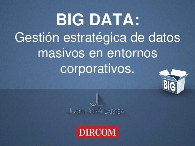 BIG DATA: Gestión estratégica de datos masivos en entornos corporativos.
