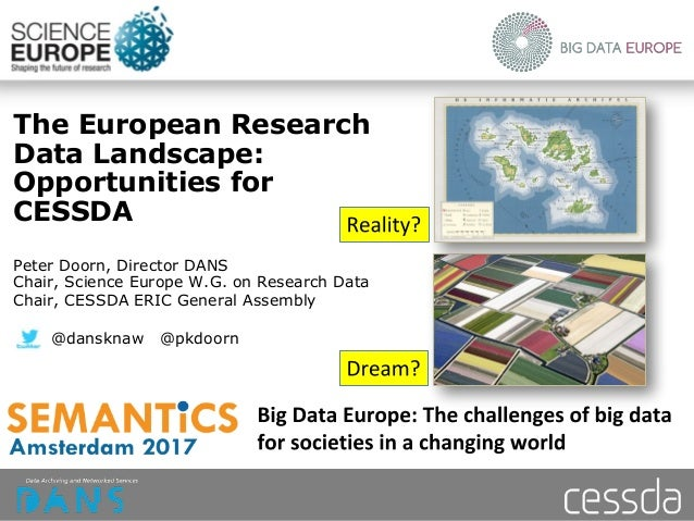 The European Research Data Landscape: Opportunities for CESSDA Peter Doorn, Director DANS Chair, Science Europe W.G. on Re...