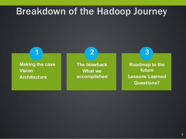 Big Data Everywhere Chicago: Leading a Healthcare Company to the Big Data Promised Land -- A Case Study of Hadoop in Healthcare Slide 3