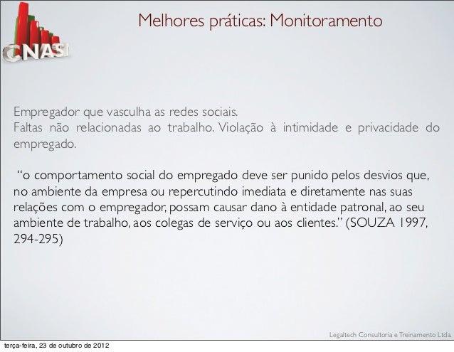 Melhores práticas: Monitoramento   Empregador que vasculha as redes sociais.   Faltas não relacionadas ao trabalho. Violaç...