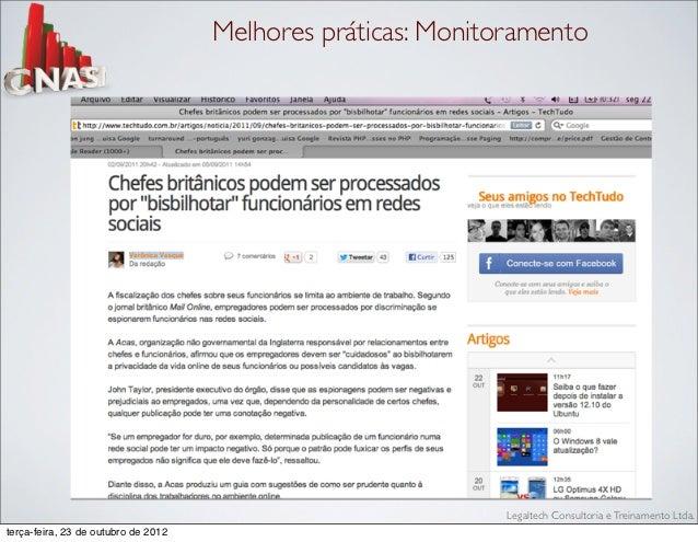 Melhores práticas: Monitoramento                                                              Legaltech Consultoria e Trei...