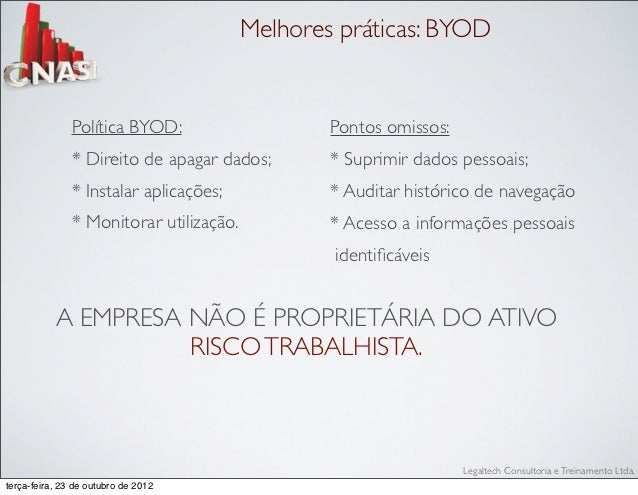 Melhores práticas: BYOD               Política BYOD:                    Pontos omissos:               * Direito de apagar ...