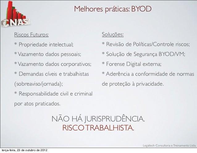 Melhores práticas: BYOD         Riscos Futuros:                          Soluções:         * Propriedade intelectual;     ...