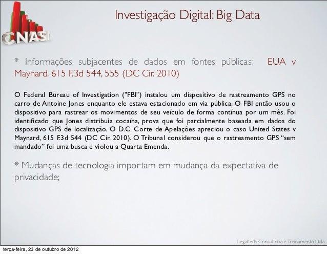 Investigação Digital: Big Data     * Informações subjacentes de dados em fontes públicas:                              EUA...