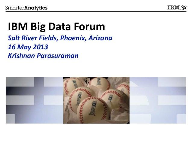 IBM Big Data ForumSalt River Fields, Phoenix, Arizona16 May 2013Krishnan Parasuraman