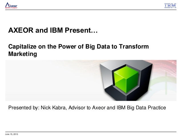 June 15, 2013 AXEOR and IBM Present… Capitalize on the Power of Big Data to Transform Marketing Presented by: Nick Kabra, ...