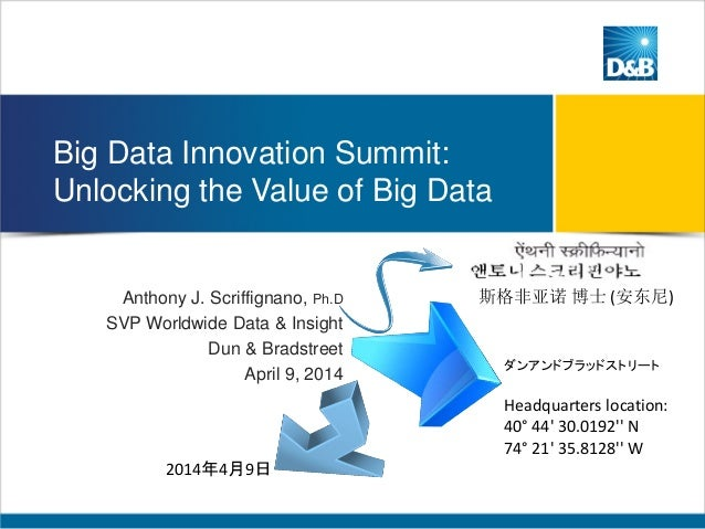Big Data Innovation Summit: Unlocking the Value of Big Data Anthony J. Scriffignano, Ph.D SVP Worldwide Data & Insight Dun...