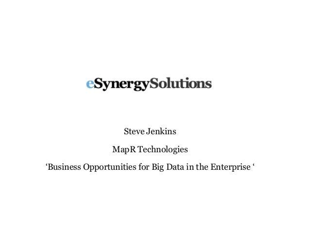 Steve Jenkins MapR Technologies 'Business Opportunities for Big Data in the Enterprise '