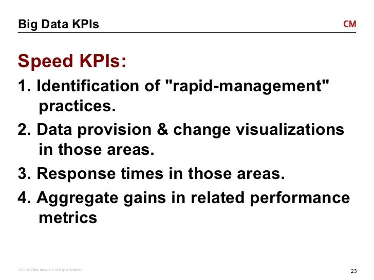 Big Data KPIsSpeed KPIs:1. Identification