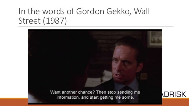 assessment of gordon gekkos personality using In the heart of his 1984 re-election campaign, ronald reagan made a speech   however, gekko became the character everyone remembered, and his  michael  douglas played the villainous gordon gekko in wall street.