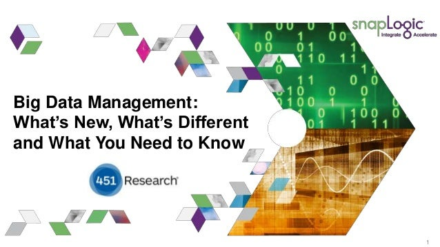 1 Big Data Management: What's New, What's Different and What You Need to Know