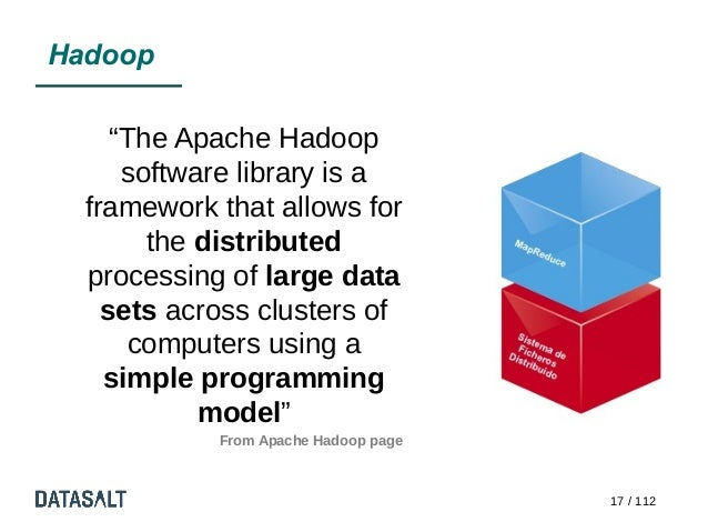 """Hadoop     """"The Apache Hadoop      software library is a  framework that allows for        the distributed  processing of ..."""