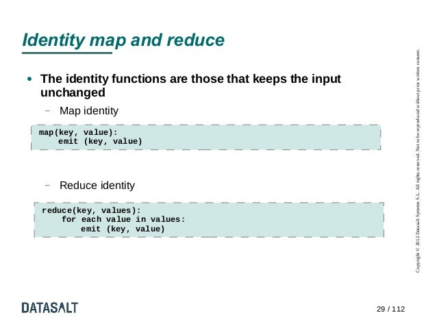 Identity map and reduce                                                                       Copyright © 2012 Datasalt Sy...