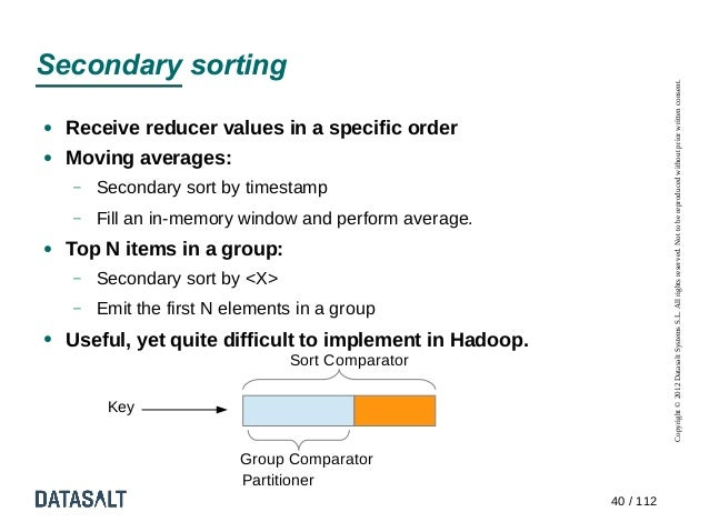 Secondary sorting                                                                     Copyright © 2012 Datasalt Systems S....