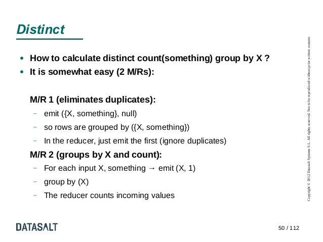Distinct                                                                             Copyright © 2012 Datasalt Systems S.L...