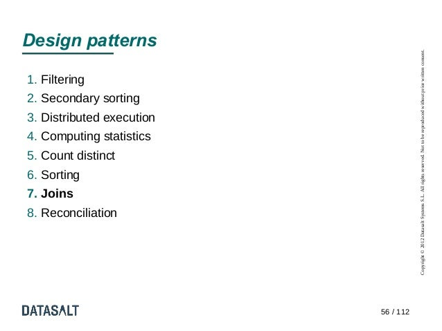 Design patterns                                      Copyright © 2012 Datasalt Systems S.L. All rights reserved. Not to be...