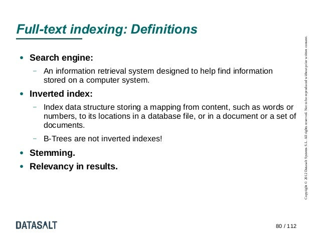 Full-text indexing: Definitions                                                                                       Copy...