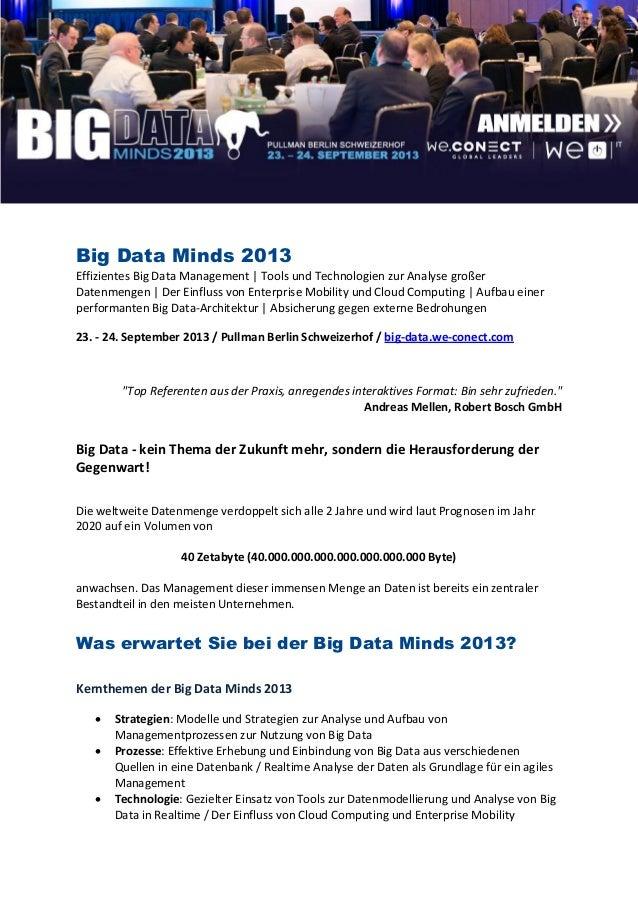 Big Data Minds 2013Effizientes Big Data Management | Tools und Technologien zur Analyse großerDatenmengen | Der Einfluss v...