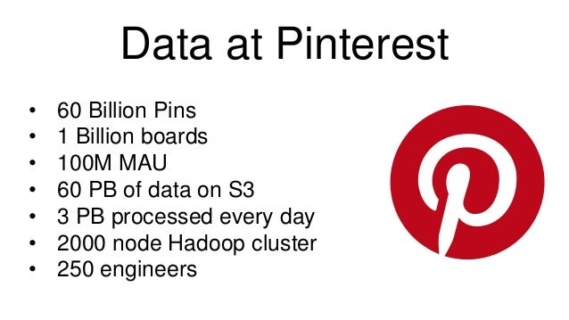 Data at Pinterest • 60 Billion Pins • 1 Billion boards • 100M MAU • 60 PB of data on S3 • 3 PB processed every day • 2000 ...