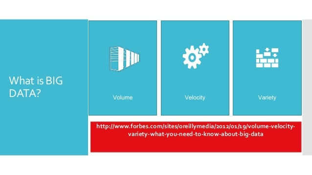 What is BIGDATA?              http://www.forbes.com/sites/oreillymedia/2012/01/19/volume-velocity-                        ...