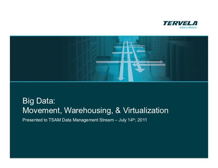Big Data:Movement, Warehousing, & VirtualizationPresented to TSAM Data Management Stream – July 14th, 2011