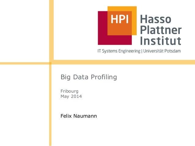 Big Data Profiling Fribourg May 2014 Felix Naumann