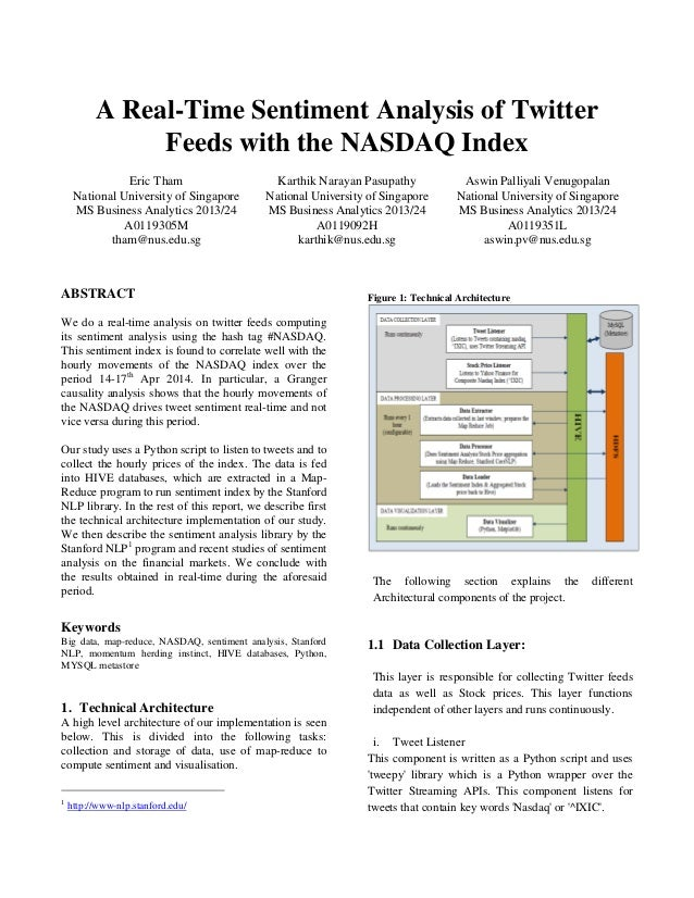 A Real-Time Sentiment Analysis of Twitter Feeds with the NASDAQ Index Eric Tham National University of Singapore MS Busine...