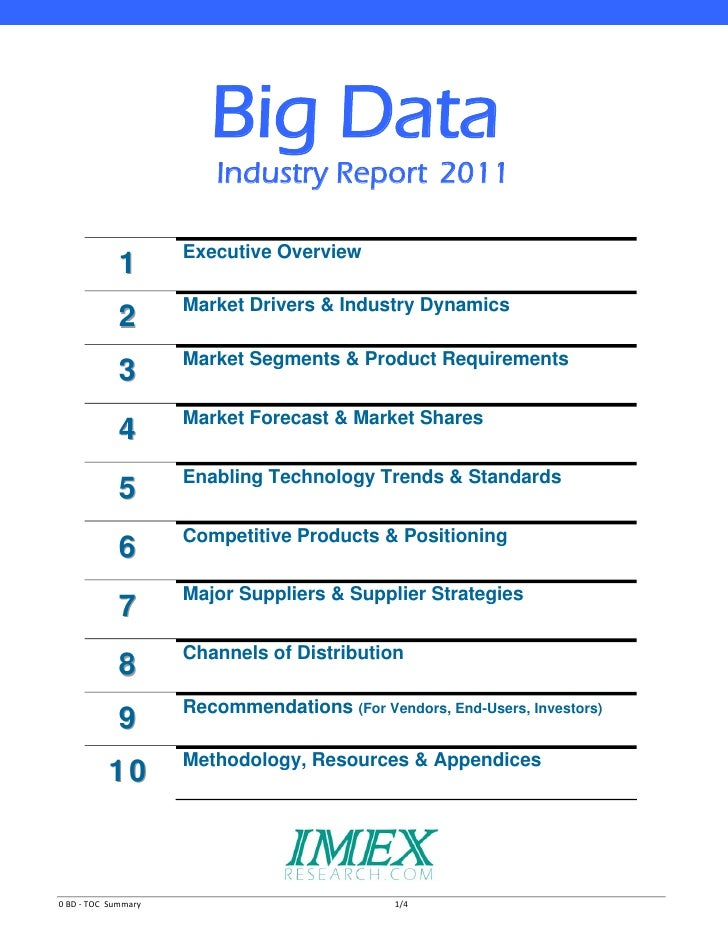 Big Data                           Industry Report 2011             1         Executive Overview             2         Mar...