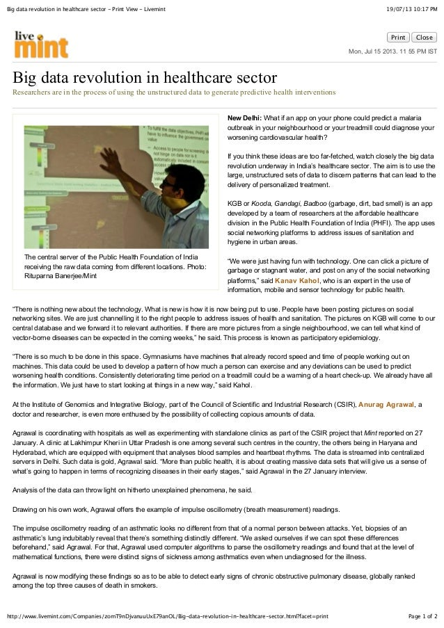 19/07/13 10:17 PMBig data revolution in healthcare sector - Print View - Livemint Page 1 of 2http://www.livemint.com/Compa...
