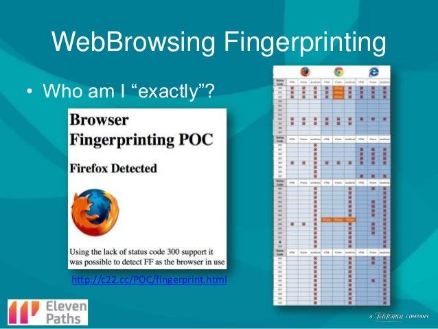"WebBrowsing Fingerprinting • Who am I ""exactly""?  http://c22.cc/POC/fingerprint.html"