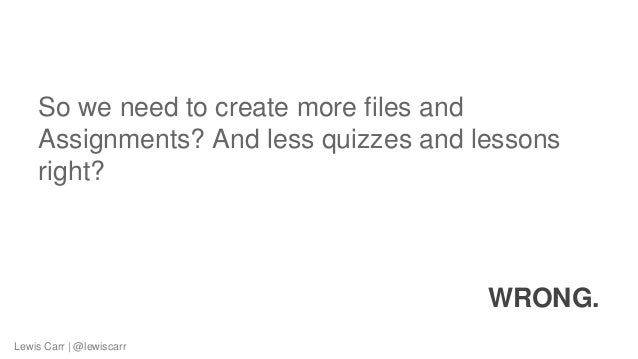 So we need to create more files and Assignments? And less quizzes and lessons right? WRONG. Lewis Carr | @lewiscarr