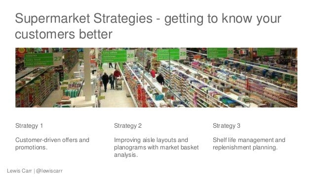 Supermarket Strategies - getting to know your customers better Strategy 1 Customer-driven offers and promotions. Strategy ...