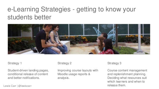 e-Learning Strategies - getting to know your students better Strategy 1 Student-driven landing pages, conditional release ...