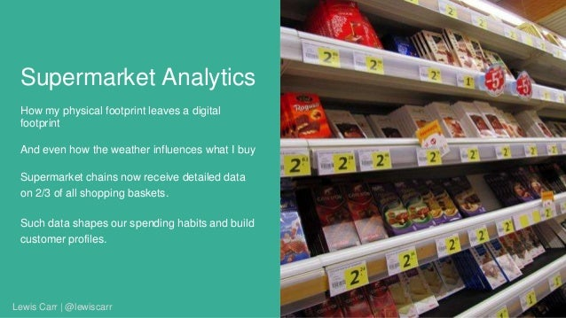 Supermarket Analytics How my physical footprint leaves a digital footprint And even how the weather influences what I buy ...