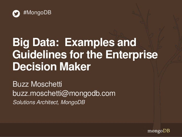 Big Data: Examples and Guidelines for the Enterprise Decision Maker Solutions Architect, MongoDB Buzz Moschetti buzz.mosch...