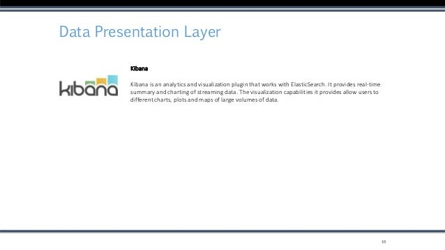 Data Presentation Layer 10 Kibana Kibana is an analytics and visualization plugin that works with ElasticSearch. It provid...