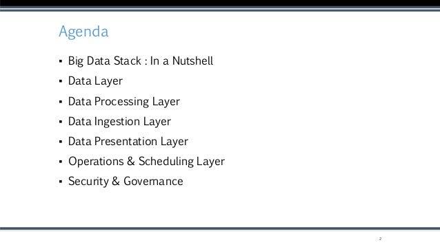 Agenda ▪ Big Data Stack : In a Nutshell ▪ Data Layer ▪ Data Processing Layer ▪ Data Ingestion Layer ▪ Data Presentation La...