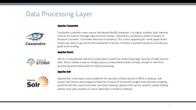 Data Processing Layer 7 Apache Cassandra Cassandra is another open-source distributed NoSQL database. It is highly scalabl...