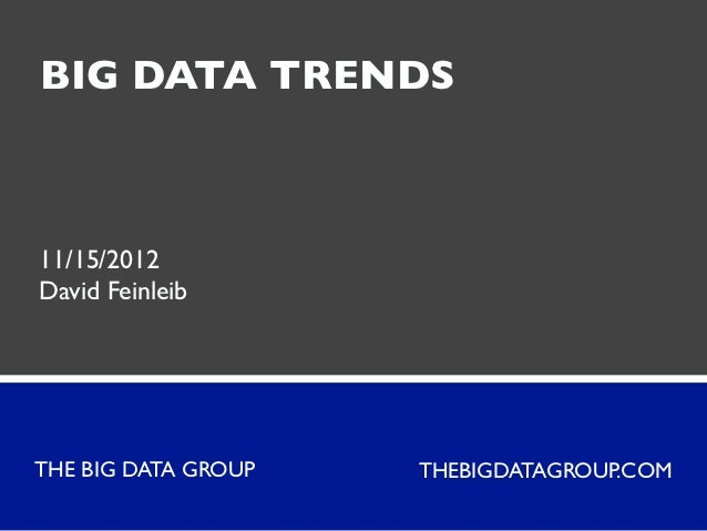 BIG DATA TRENDS11/15/2012David FeinleibTHE BIG DATA GROUP   THEBIGDATAGROUP.COM