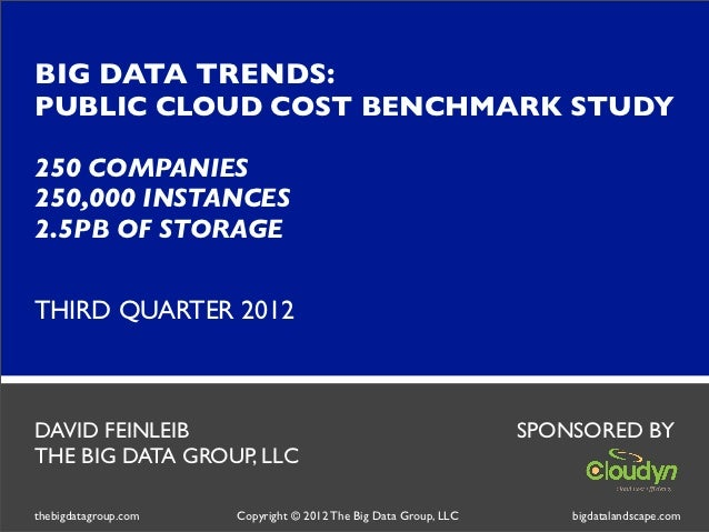 BIG DATA TRENDS:PUBLIC CLOUD COST BENCHMARK STUDY250 COMPANIES250,000 INSTANCES2.5PB OF STORAGETHIRD QUARTER 2012DAVID FEI...