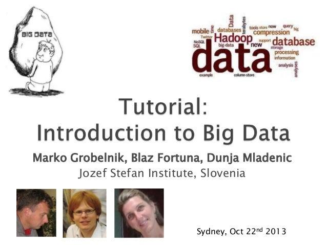 Marko Grobelnik, Blaz Fortuna, Dunja Mladenic Jozef Stefan Institute, Slovenia  Sydney, Oct 22nd 2013